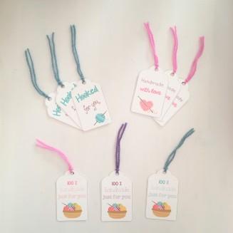 Set of crochet gift tags